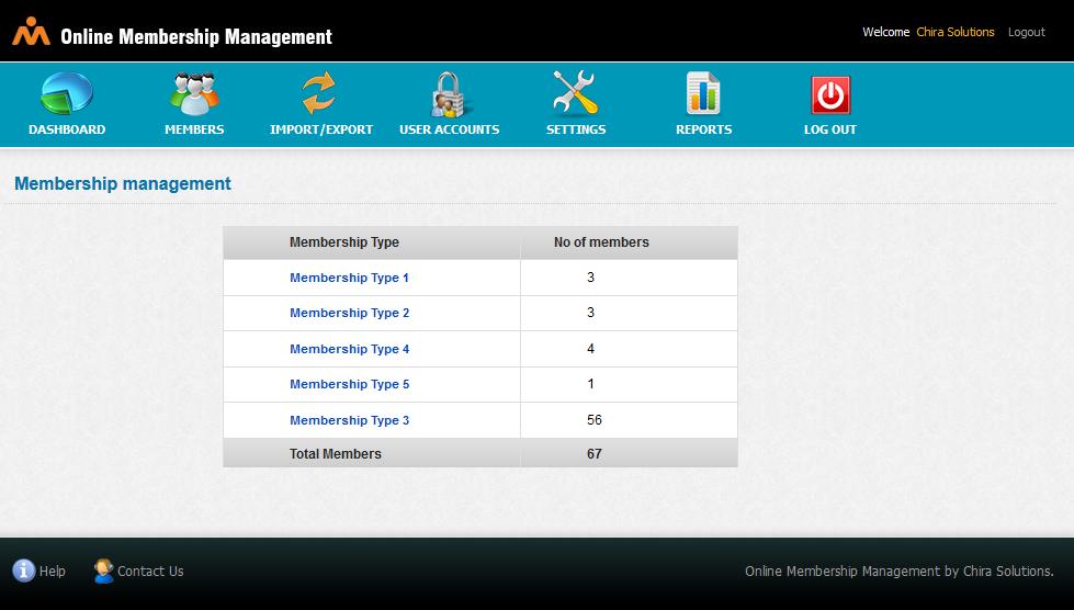 Online Membership Management Dashboard